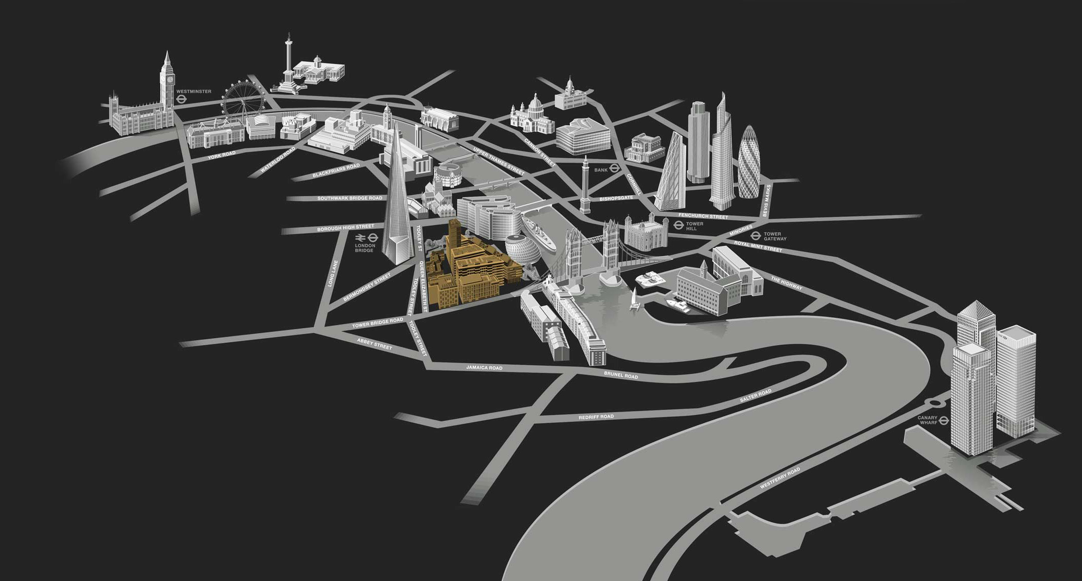 One Tower Bridge map